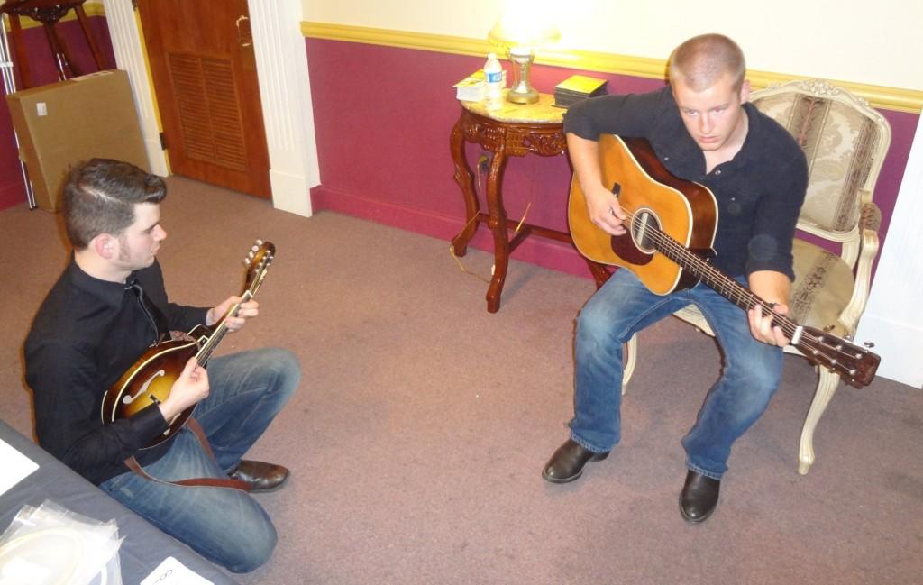 Levi Austin and Austin Korerner jamming Infinity guitar and mandolin.